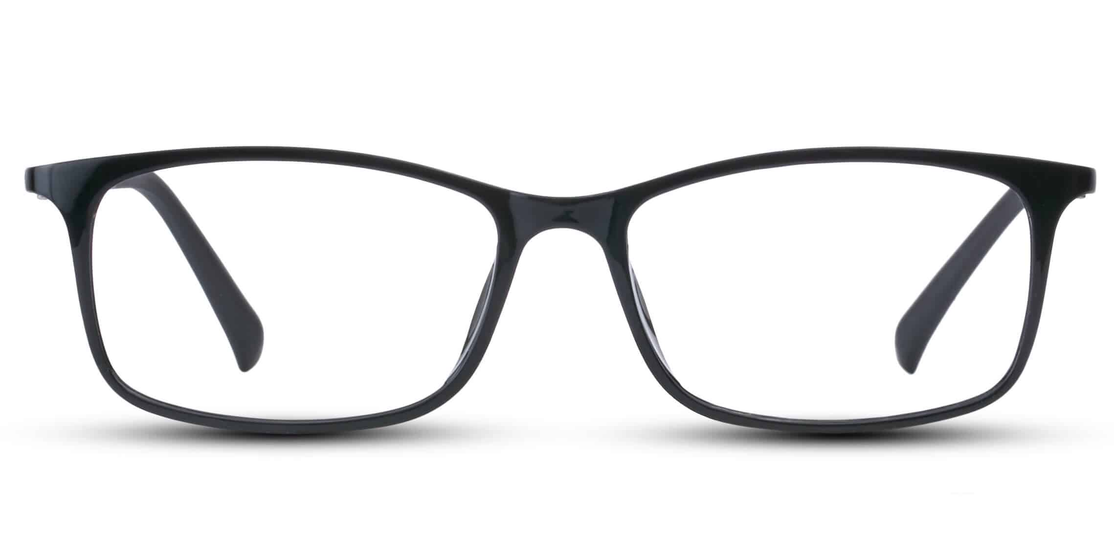 Black Plastic with blue temples