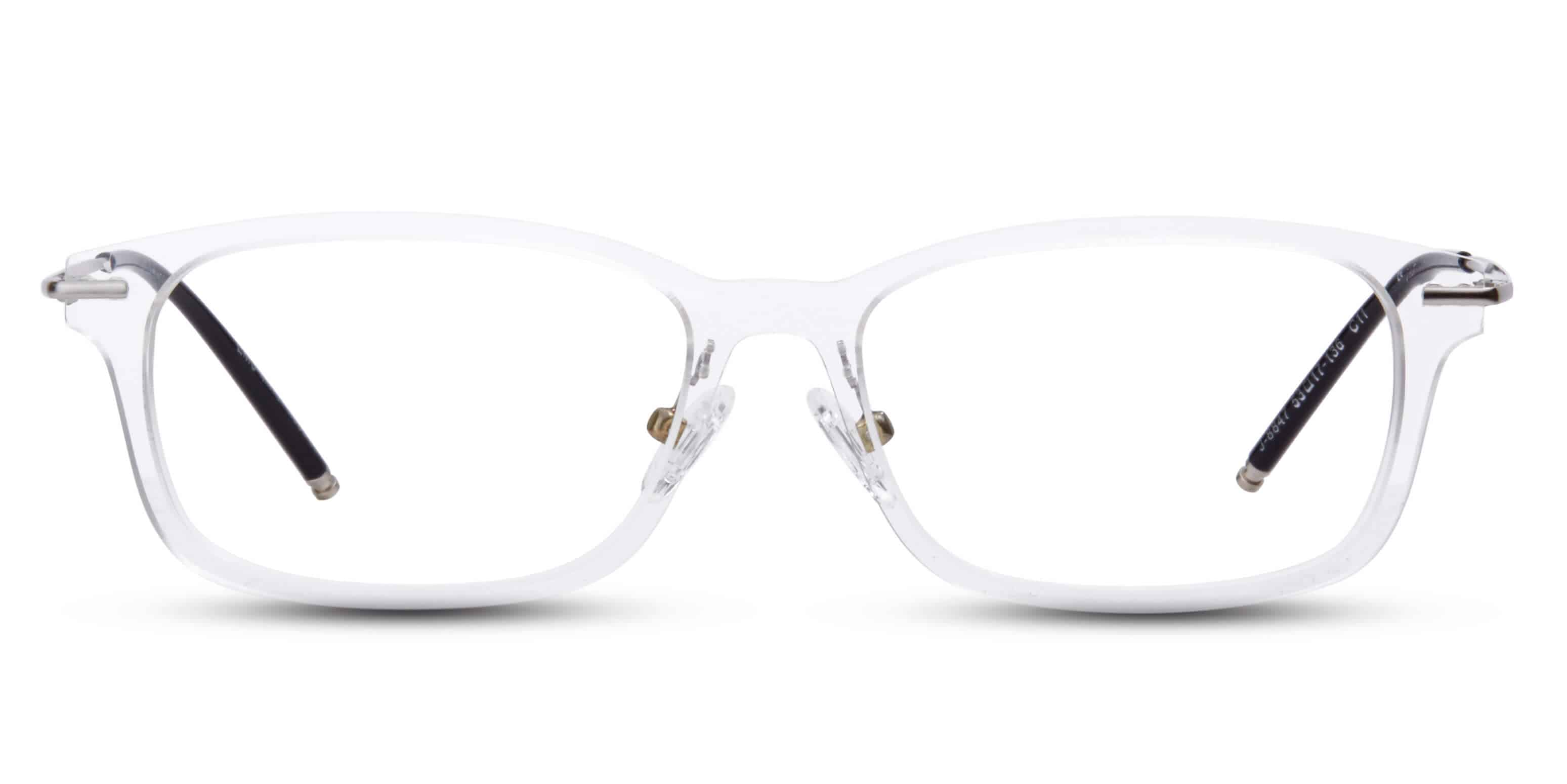 Clear plastic with metal temples